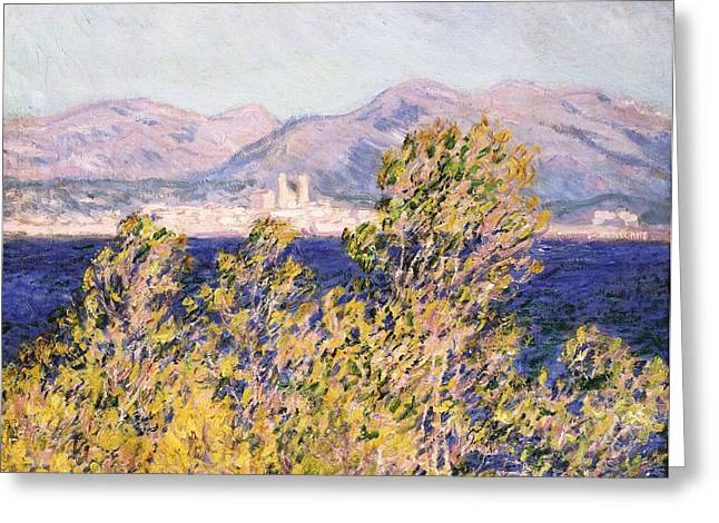 Signature Greeting Cards - View of the Cap dAntibes with the Mistral Blowing Greeting Card by Claude Monet