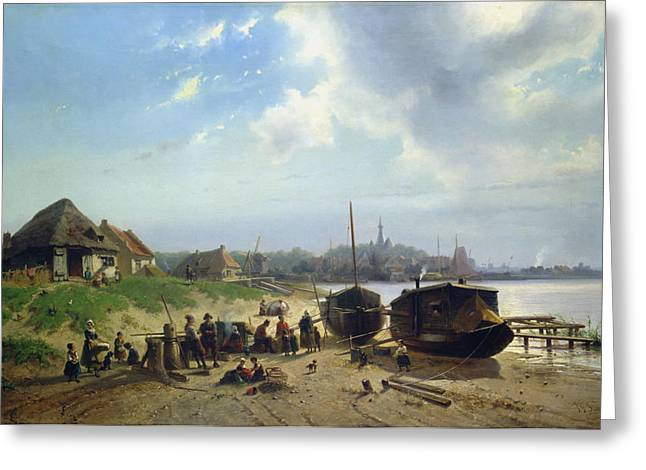Village By The Sea Greeting Cards - View of the Dutch Coast Greeting Card by Johan Gerard Smits
