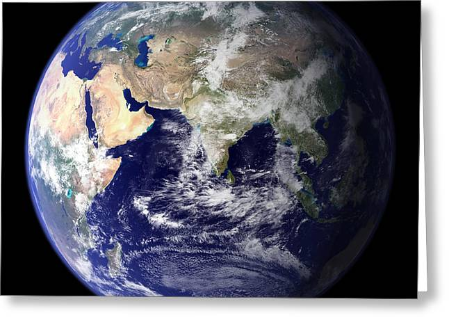 Terrestrial Sphere Greeting Cards - View Of The Earth From Space Showing Greeting Card by Stocktrek Images