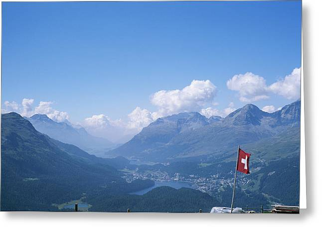 Pontresina Greeting Cards - View Of The Engadin Valley And St Greeting Card by Taylor S. Kennedy