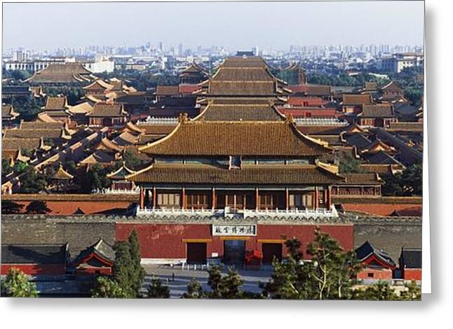 Peking Greeting Cards - View Of The Forbidden City At Dusk From Greeting Card by Axiom Photographic