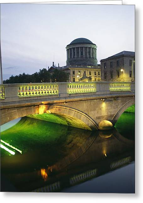 Governmental Greeting Cards - View Of The Four Courts And The Liffey Greeting Card by Richard Nowitz