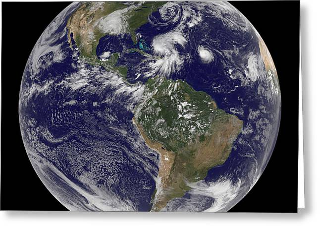 California Ocean Photography Greeting Cards - View Of The Full Earth And Four Storm Greeting Card by Stocktrek Images