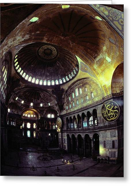 Byzantine Greeting Cards - View Of The Interior Of Hagia Sophia Greeting Card by James L. Stanfield