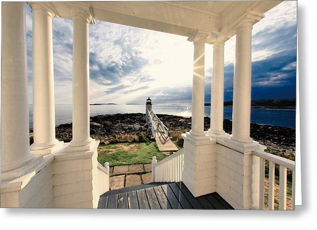 View of the Marshall Point Lighthouse from the Keeper's House Greeting Card by George Oze
