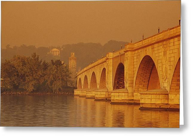 Arlington Greeting Cards - View Of The Memorial Bridge Greeting Card by Kenneth Garrett