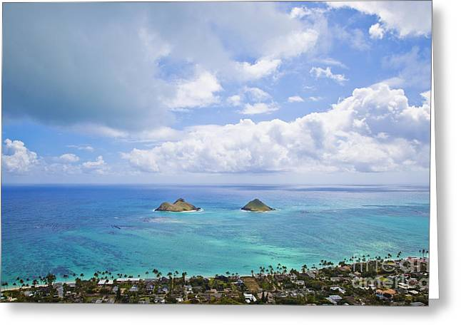 Hawai Greeting Cards - View of the Mokulua Islands Greeting Card by Inti St. Clair