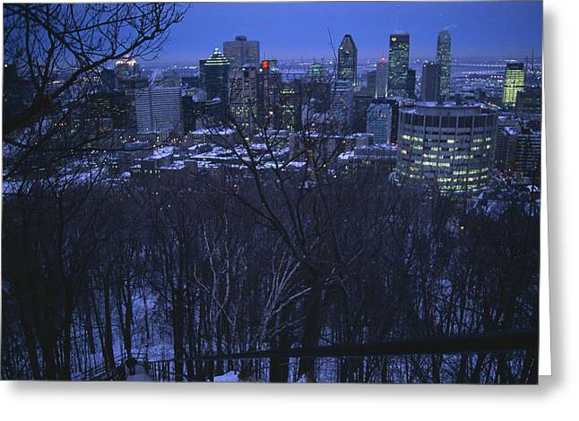 Park Scene Greeting Cards - View Of The Montreal Skyline From High Greeting Card by Melissa Farlow