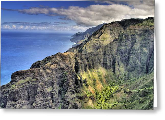 Tropical Oceans Greeting Cards - View of the Nualolo Valley - Kauai Greeting Card by Brendan Reals