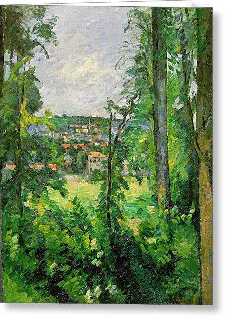 Green Foliage Greeting Cards - View of the Outskirts Greeting Card by Paul Cezanne