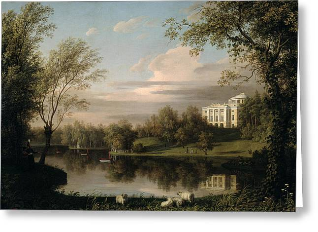 Lake Paintings Greeting Cards - View of the Pavlovsk Palace Greeting Card by Carl Ferdinand von Kugelgen