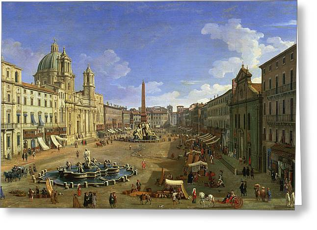 The Piazza Greeting Cards - View of the Piazza Navona Greeting Card by Canaletto