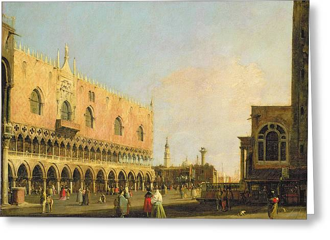 Venice Tour Greeting Cards - View of the Piazzetta San Marco Looking South Greeting Card by Canaletto