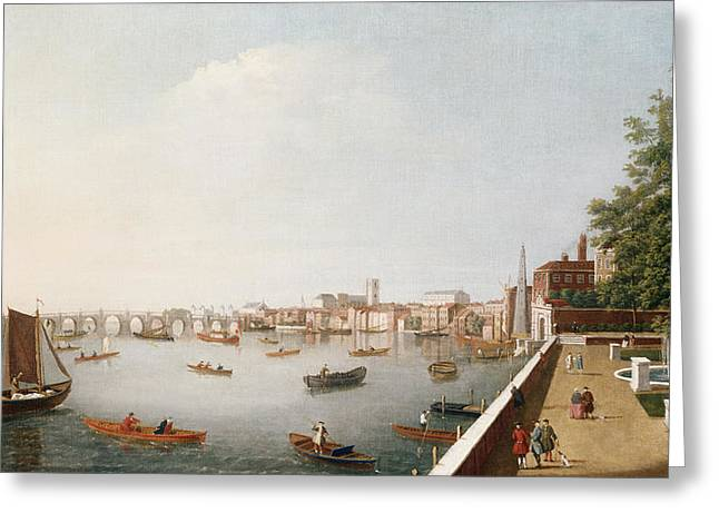 View Of The River Thames From The Adelphi Terrace  Greeting Card by William James
