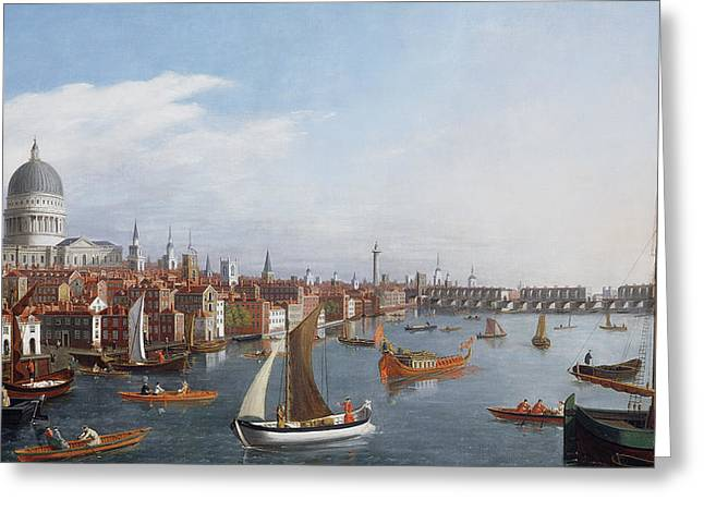 Thames River Greeting Cards - View of the River Thames with St Pauls and Old London Bridge   Greeting Card by William James