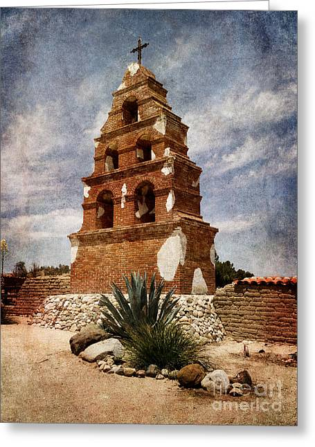 Miguel Art Greeting Cards - View of the San Miguel Bell Tower Greeting Card by Laura Iverson