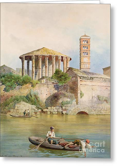 System Paintings Greeting Cards - View of the Sbocco della Cloaca Massima Rome Greeting Card by Ettore Roesler Franz