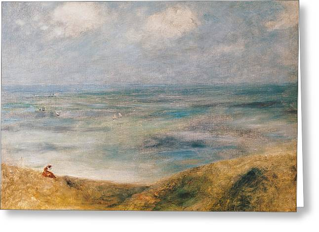 Boats On Water Greeting Cards - View of the Sea Guernsey Greeting Card by Pierre Auguste Renoir