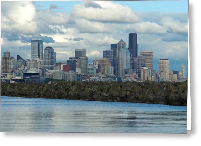 Art Of Building Greeting Cards - View Of The Seattle Skyline From A Bay Greeting Card by Darlyne A. Murawski