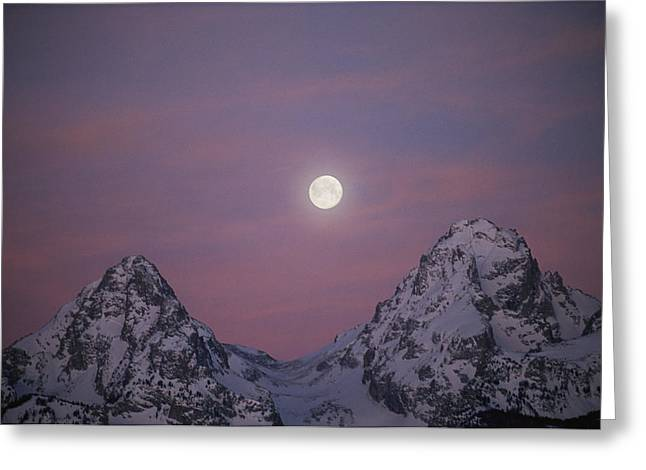 Moonlight Scene Greeting Cards - View Of The Setting Moon Over Grand Greeting Card by Jimmy Chin