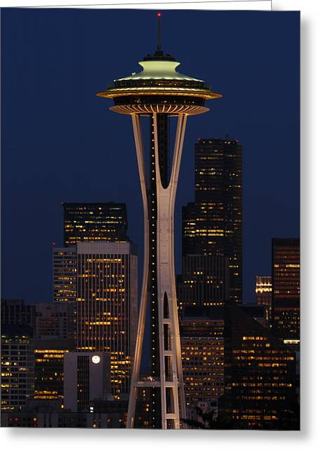 City Lights And Lighting Greeting Cards - View Of The Space Needle And Seattles Greeting Card by Darlyne A. Murawski