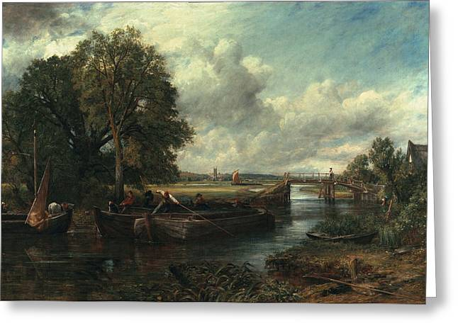 Constable Paintings Greeting Cards - View of the Stour near Dedham Greeting Card by John Constable