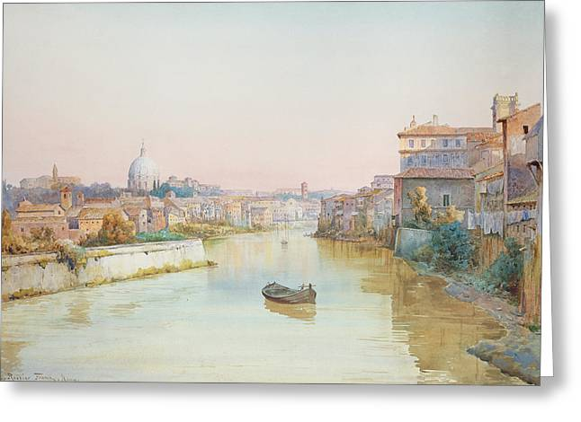 River Boat Greeting Cards - View of the Tevere from the Ponte Sisto  Greeting Card by Ettore Roesler Franz