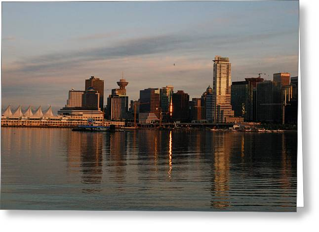 Burrard Inlet Greeting Cards - View Of The Waterfront And Downtown Greeting Card by Darlyne A. Murawski