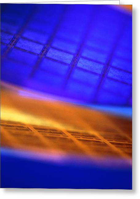 Silicon Greeting Cards - View Of Two Silicon Wafers With Their Chips Greeting Card by Chris Knapton