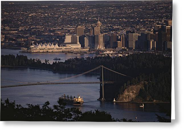 Burrard Inlet Greeting Cards - View Of Vancouver, British Columbia Greeting Card by Annie Griffiths