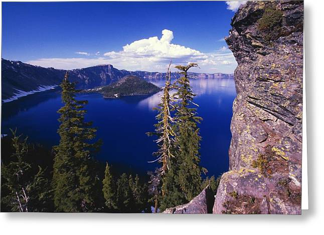 Ledge Photographs Greeting Cards - View Of Wizard Island At Crater Lake Greeting Card by Natural Selection Craig Tuttle