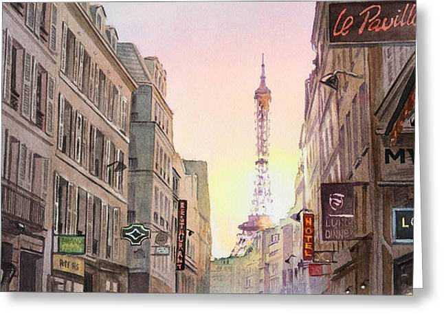 Touristic Greeting Cards - View on Eiffel Tower from Rue Saint Dominique Paris France Greeting Card by Irina Sztukowski