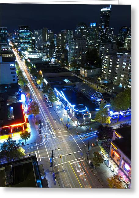 Vancouver Night Scene Greeting Cards - View On Vancouver By Night Greeting Card by Corepics