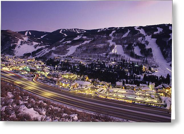 Mountain Road Greeting Cards - View Over I-70, Vail, Colorado Greeting Card by Michael S. Lewis