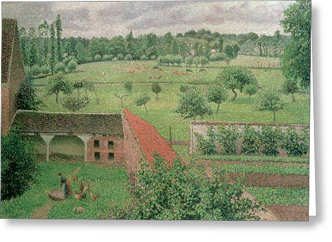 Pissaro Greeting Cards - View Through a Window Greeting Card by Camille Pissarro
