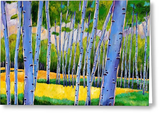 Birch Trees Greeting Cards - View Through Aspen Greeting Card by Johnathan Harris