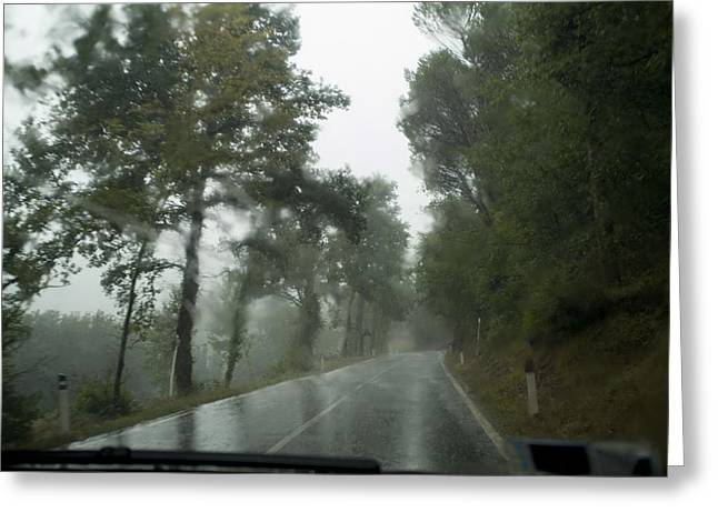 Chianti Greeting Cards - View Through The Window Of A Car Greeting Card by Todd Gipstein