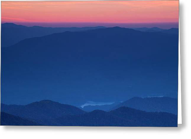 Fog; Landscape; Mist; Mountain; Mountains; Nature; Nobody; Outdoors; Outside; River; Rivers Greeting Cards - View towards Fontana Lake at Sunset Greeting Card by Andrew Soundarajan