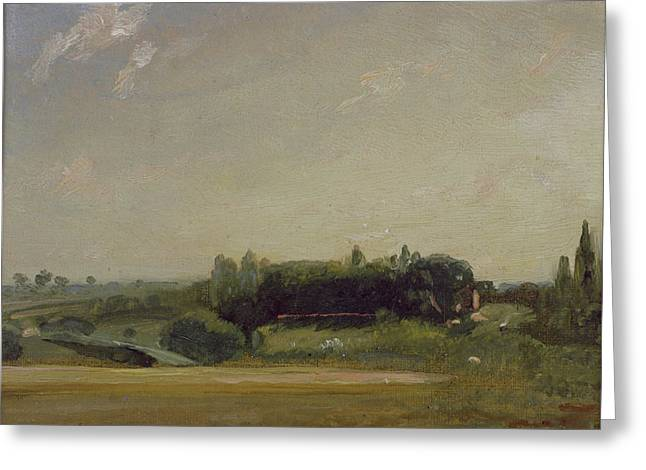 Constable Paintings Greeting Cards - View Towards the Rectory - East Bergholt Greeting Card by John Constable