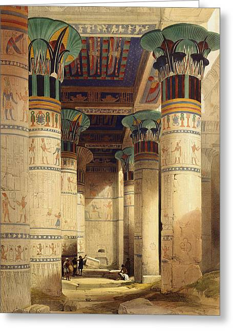 Hieroglyph Greeting Cards - View under the Grand Portico Greeting Card by David Roberts