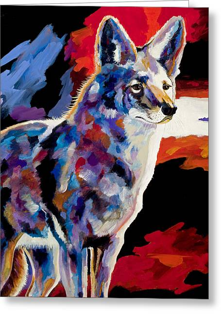 Coyote Art Greeting Cards - Vigilant Greeting Card by Bob Coonts