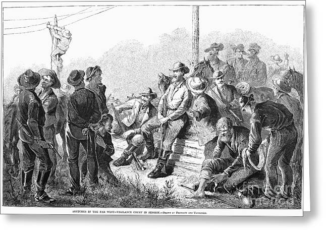 Vigilantes Greeting Cards - Vigilante Court, 1874 Greeting Card by Granger