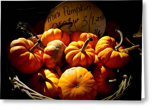 Hdr Landscape Greeting Cards - Vignette Photo of Small Pumpkins in a Wicker Basket at the Market - Fall Harvest in Autumn Colors Greeting Card by Chantal PhotoPix