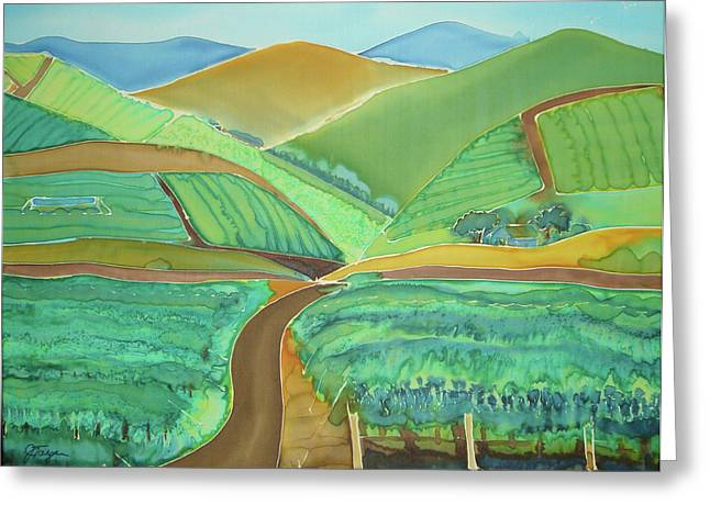 Vineyard Landscape Mixed Media Greeting Cards - Vigor in the Vineyards Greeting Card by Jill Targer