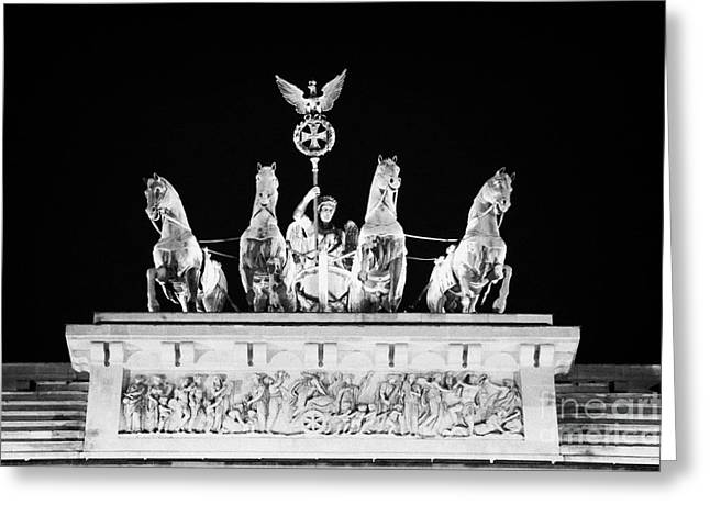 Berlin Germany Greeting Cards - viktoria with quadriga on top of the Brandenburg gate at night Berlin Germany Greeting Card by Joe Fox