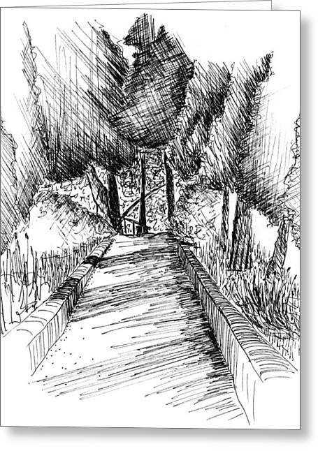 Mediterranean Landscape Drawings Greeting Cards - Villa Cimbrone Garden Greeting Card by Elizabeth Thorstenson