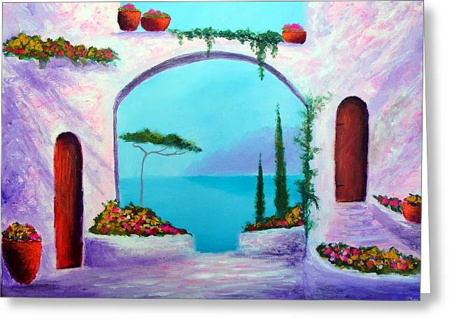 Villa Gardens Of The Mediterranean Greeting Card by Larry Cirigliano