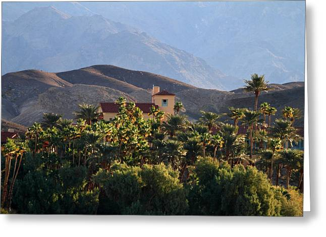 Lush Green Greeting Cards - Villa in the oasis of Death valley Greeting Card by Pierre Leclerc Photography