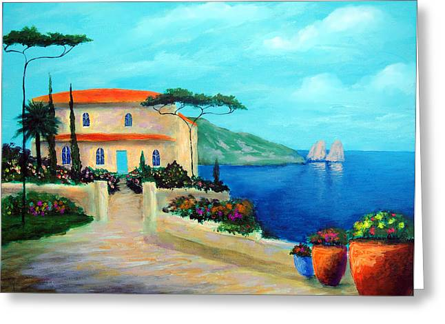 Villa Of Amalfi Greeting Card by Larry Cirigliano