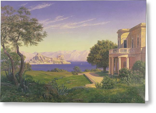 Anonymous Paintings Greeting Cards - Villa Overlooking Capri  Greeting Card by Anonymous